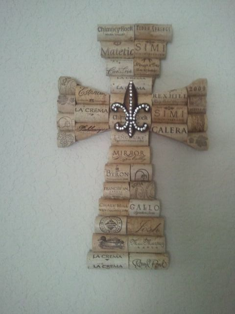 Wine Cork Cross with Le Fleur by StashasCreations on Etsy, $38.00 by britney