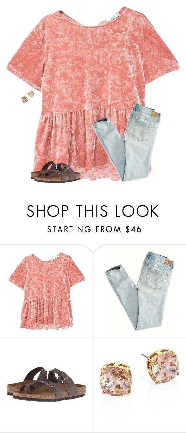 """""""Do y'all like mom jeans??? Comment it"""" by christyaphan ❤ liked on Polyvore featuring MANGO, American Eagle Outfitters, Birkenstock and Tory Burch"""