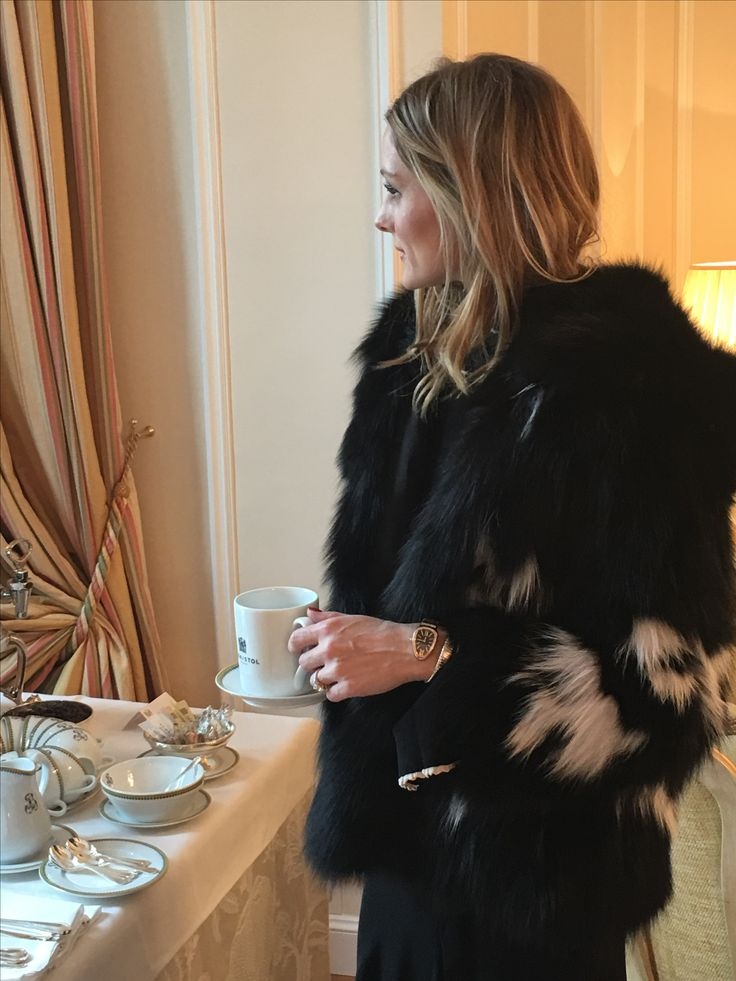 Olivia Palermo wears Lilly e Violetta Lynx jacket during couture fashion week in Paris