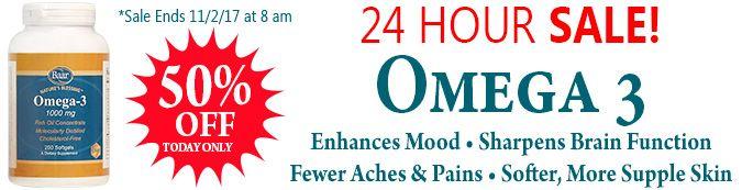 24 HOUR #SALE! Omega-3 is 50% OFF. Sale Ends 11/2/17 at 8 am EST. https://www.baar.com/omega-3-1000-mg #supplements #omega3 #deals #shop #save #dealoftheday
