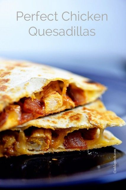 Perfect Chicken Quesadilla--Filled with my deliciously seasoned chicken, cheese, and bacon pieces, this really does make the perfect chicken quesadilla recipe.