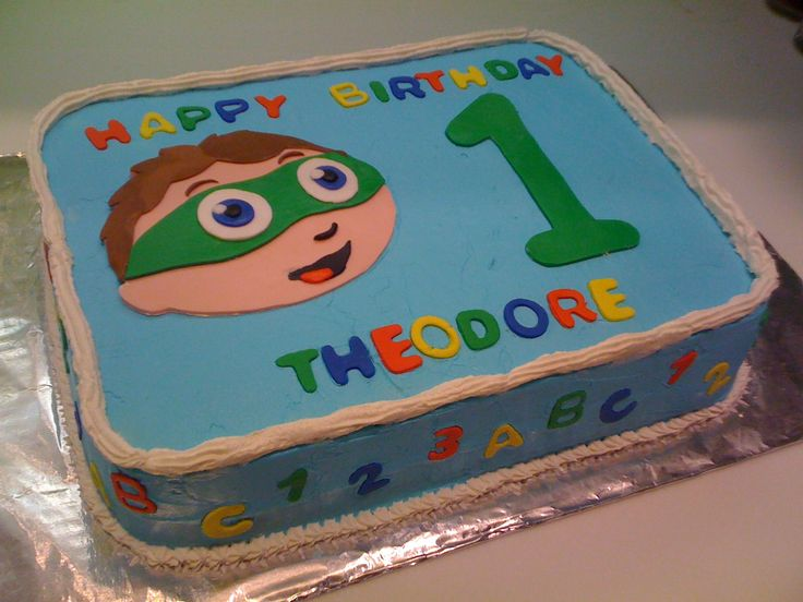 Super Why Cake - I got the inspiration from a cake on CC, but I turned it into a sheet cake. Chocolate cake wiht cookies and cream filling. Outside - Buttercream icing with fondant decorations.