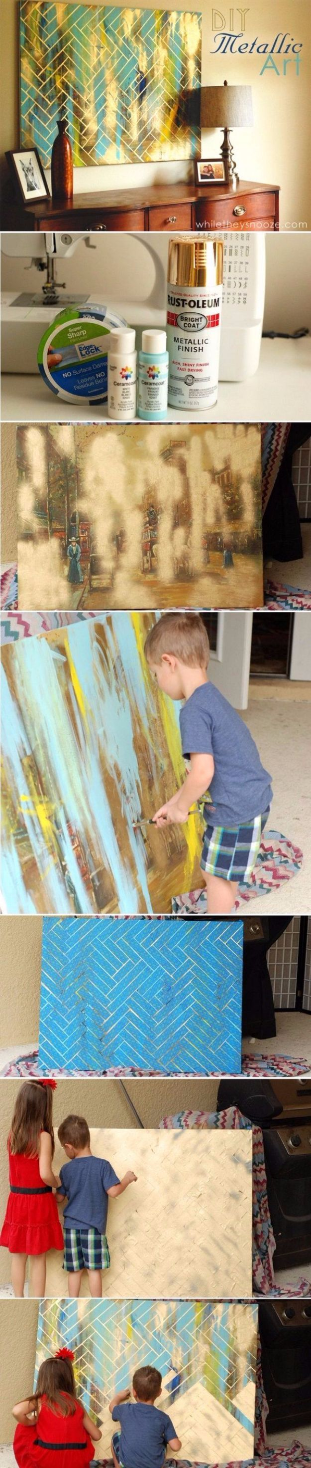 DIY Canvas Painting Ideas - DIY Herringbone Metallic Artwork - Cool and Easy Wall Art Ideas You Can Make On A Budget - Creative Arts and Crafts Ideas for Adults and Teens - Awesome Art for Living Room, Bedroom, Dorm and Apartment Decorating http://diyjoy.com/diy-canvas-painting