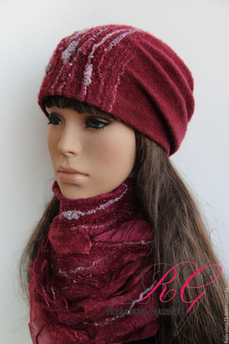Купить Валяный комплект  Бордо - валяная шапка, шапка женская, шапка валяная