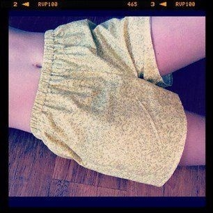 Floral mustard shorts, style with oversized tee and boots... www.etsy.com/shophaylmaree