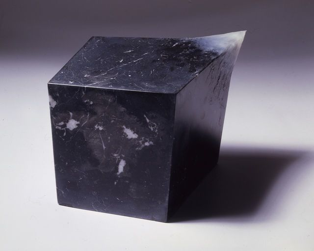 Gianni Caravaggio - L'ignoto, 2005/2006. Black marble, vaseline.