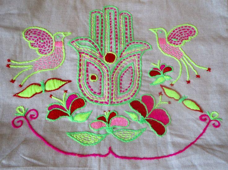 Handembroidered fluo khamsa bag by BeatricePoggioArt on Etsy