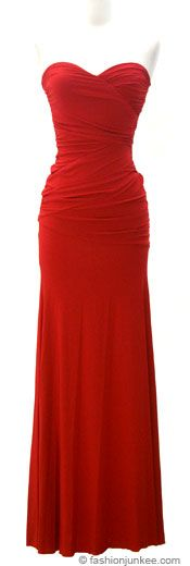 ' Sweetheart Shaped Strapless Full Length Long Evening Dress-Red -- strapless dress. Sweet heart shaped at the bust. Full length evening dress. Diagonal ruched design at the waist (hides any imperfections.) This one is classice, simple, & beatuful. Soft stretch fabric. Material: 92% Nylon, 8% Spandex'