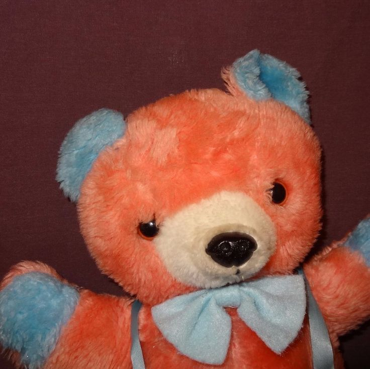 "Teddy Bear Pink Blue Suspenders 16""  Plush Stuffed Animal Bow Tie  #unknown"