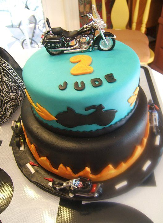 Harley motorcycle birthday cake Jude's 2nd birthday  boys birthday cake