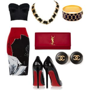 We have it All !! chanel-YSL black croptop and black-red-white skirt.