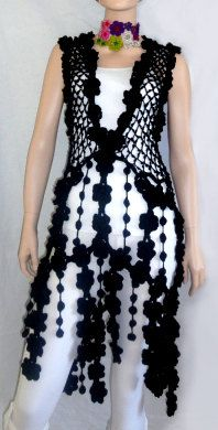 Black dress crochet hippie tunic  luxury boho style  by GlamCro, $440.00