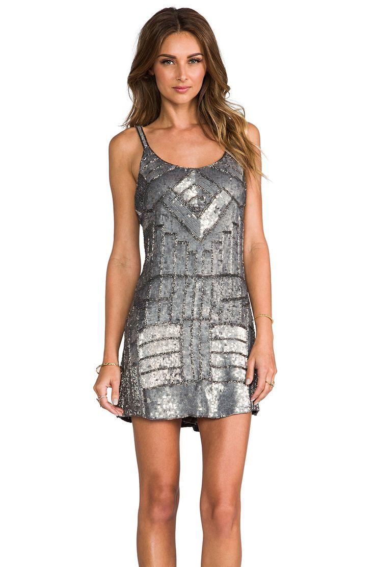 Parker Embellished Hayden Combo Dress en Gunmetal | REVOLVE