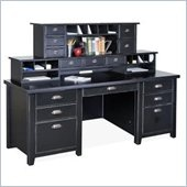 Kathy Ireland Home by Martin Furniture Tribeca Loft Double Pedestal Wood Executive Desk Set with Hutch in Black - TL680-678-PKG