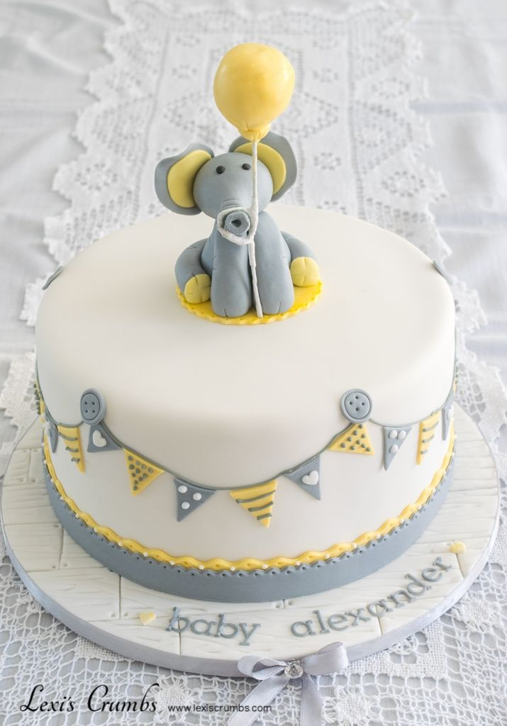 Elephant baby shower cake www.lexiscrumbs.com