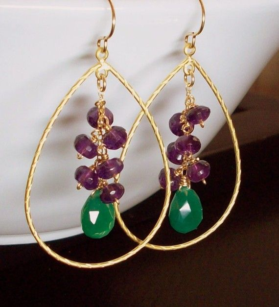 Green Onyx and Amethyst Cluster Hoop Gold Earrings    A cluster of luscious and sparkling purple Amethyst micro-faceted thick rondelles(Grade AAA) individually wrapped on 14k goldfilled wire to 14K goldfilled chain, adorn and contrast beautifully to an emerald green Onyx faceted