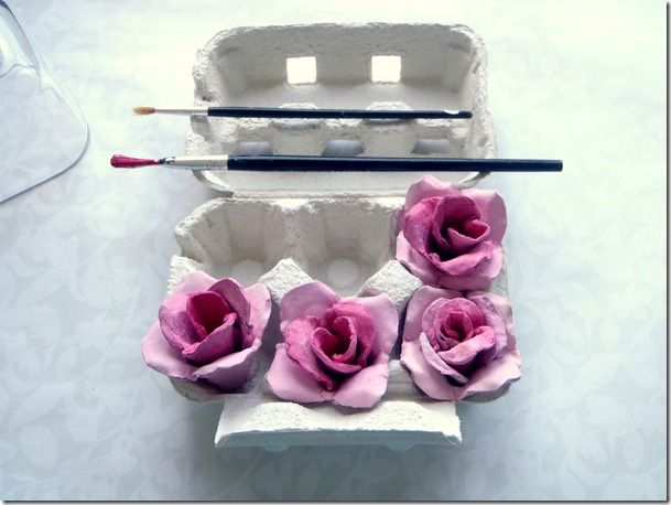 Make roses from egg cartons: Crafts Paintings, Pink Roses, Flower Tutorials, Eggs Boxes, Cartons Roses, Diy'S Projects, Eggs Cartons Crafts, Fresh Flower, Recycled Crafts
