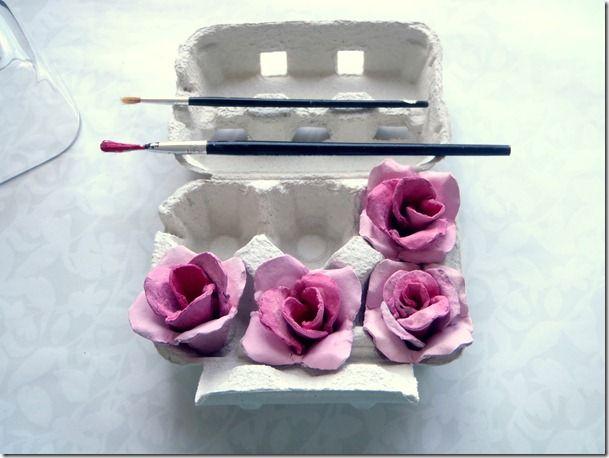 Make roses from egg cartons