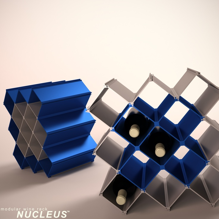 Modular wine rack Nucleus in blue and satin.