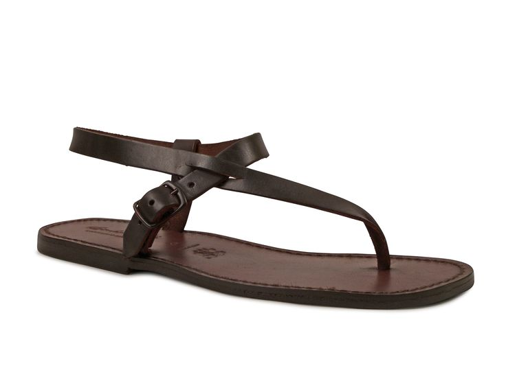 Dark Brown Greased Vachetta Leather Mens Sandals With Sole Handmade In Italy Without The Use Foreign Or Child Labor But By Experts