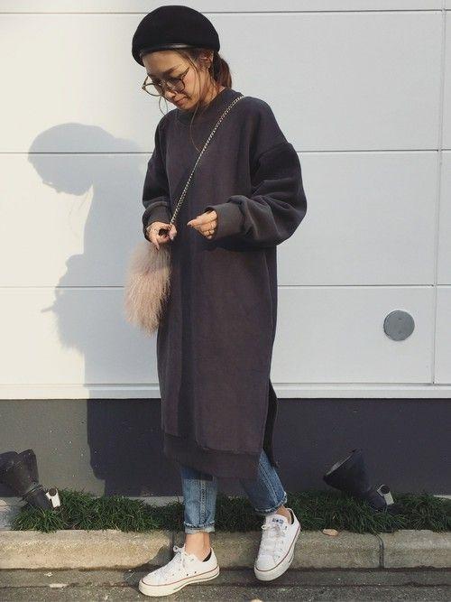 ゆったりめのスウェットワンピ♡ 裏起毛だからあったか💭💭 instagram→yan___5