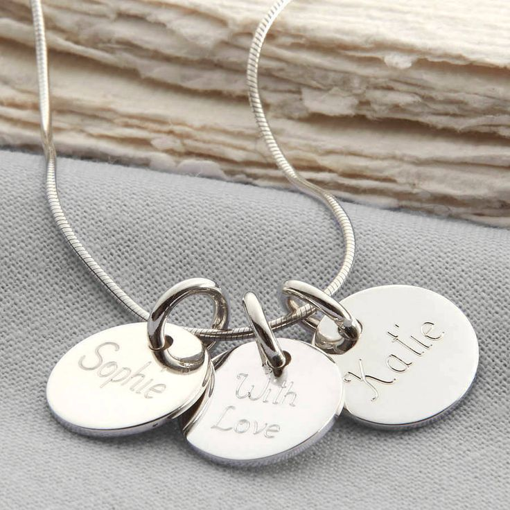 Personalised Loved Ones Sterling Silver Disc Necklace