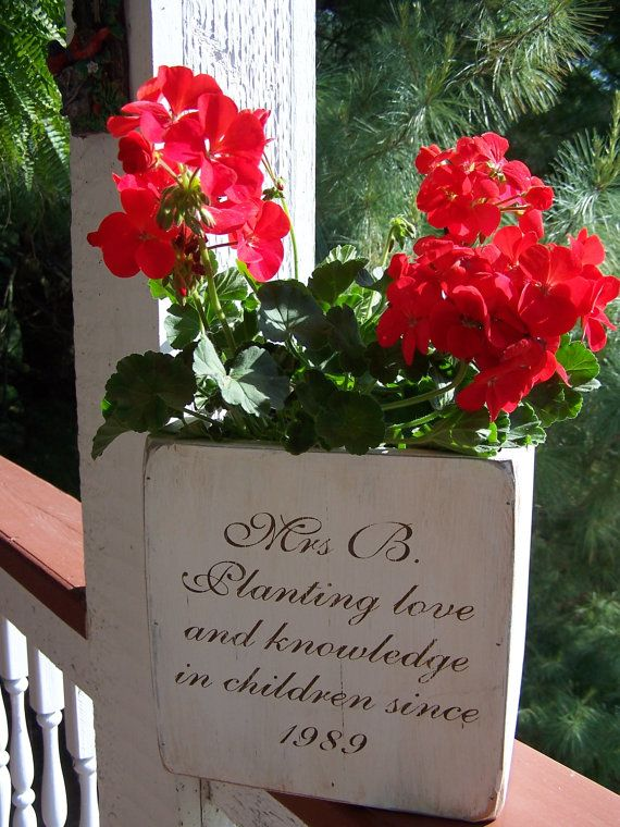 """Hand Painted Personalized Flower Boxes  - Approx. 5"""" Teacher Gift, Mother's Day Gift"""