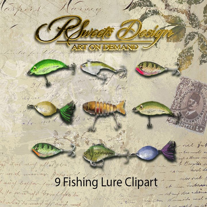 Fishing Lures Clipart Svg Png Etsy Clip Art Fishing Lures Art Fishing Lures