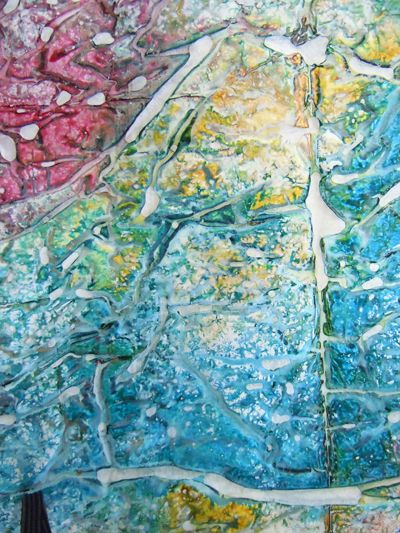 First will be a technique of producing multi-colored tissue paper, called crystalline paper. First, one side of the tissue is covered with gesso and allowed to dry using these supplies. *a foam board covered in 4 mil plastic *light weight recycling bags cut to fit the board *white craft tissue
