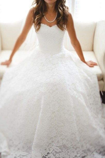 dress, wedding dress, lace, white, ball gown wedding gown - Wheretoget