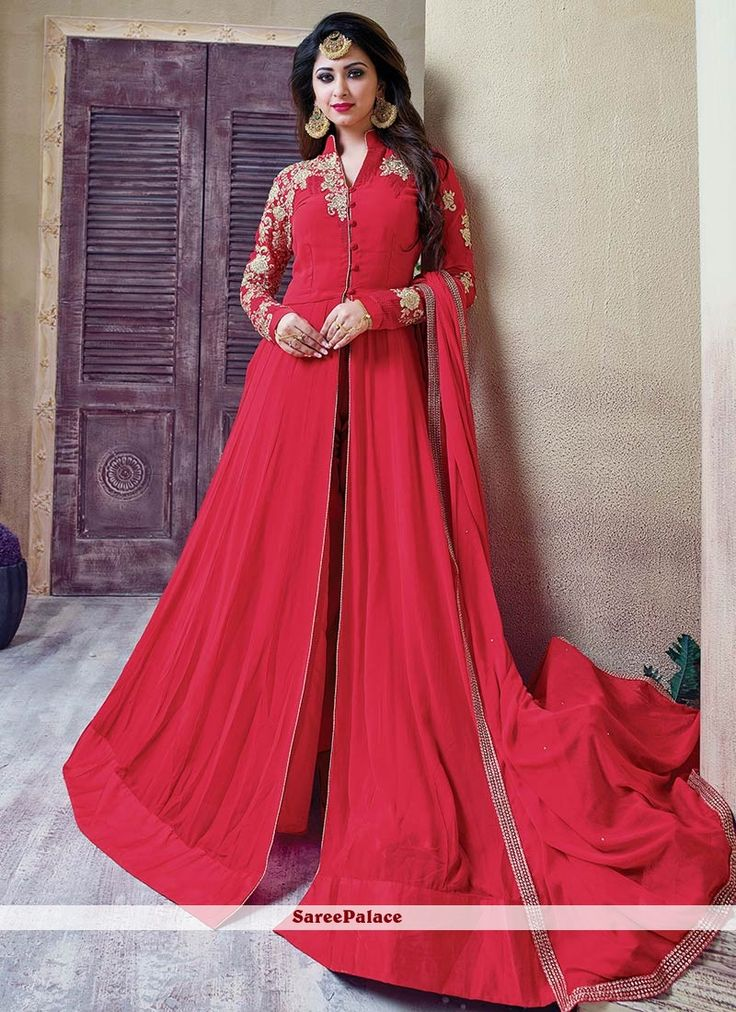 Girlish Red Lace Work Faux Georgette Floor Length Anarkali Salwar Suit