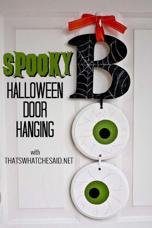 BOO Halloween Door Hanging!  Who says you need a wreath?  #spookyspaces #spon #halloween