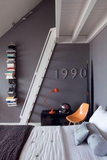 Une chambre très déco  :  joli camaïeu de gris | Grey monochrome bedroom