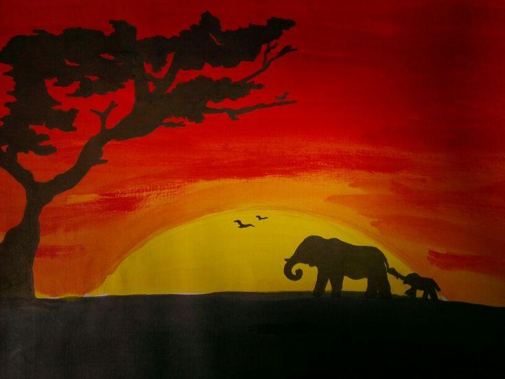 african sunset silhouette artwork