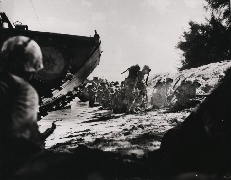 Marines arrive on the Japanese islandSaipan. 1944 WWII Photo Credit:US Marine Corps  via @AOL_Lifestyle Read more: http://www.aol.com/article/news/2016/11/10/40-photos-of-the-marines-throughout-history-in-honor-of-their-24/21603219/?a_dgi=aolshare_pinterest#fullscreen