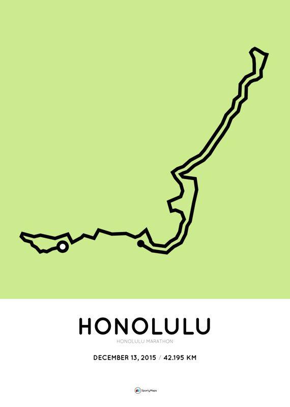 Honolulu Marathon 2015 parcours A3 digitale print op door SportyMaps