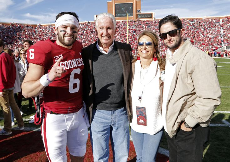 Oklahoma's Baker Mayfield (6) and his family are introduced before a college football game between the University of Oklahoma Sooners (OU) and the West Virginia Mountaineers at Gaylord Family-Oklahoma Memorial Stadium in Norman, Okla., on Saturday, Nov. 25, 2017. Photo by Steve Sisney, The Oklahoman