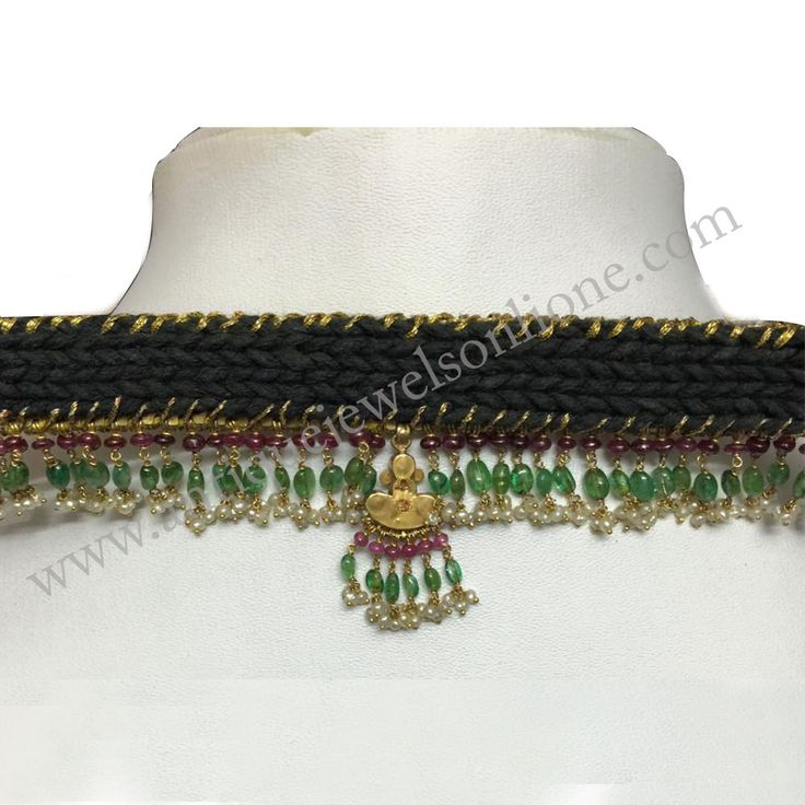 """Modified Old """"W"""" Necklace Added Emerald, Ruby and pearls,   WEIGHT :  (Without thread) 40.4 grams (With thread)     52.2 grams"""