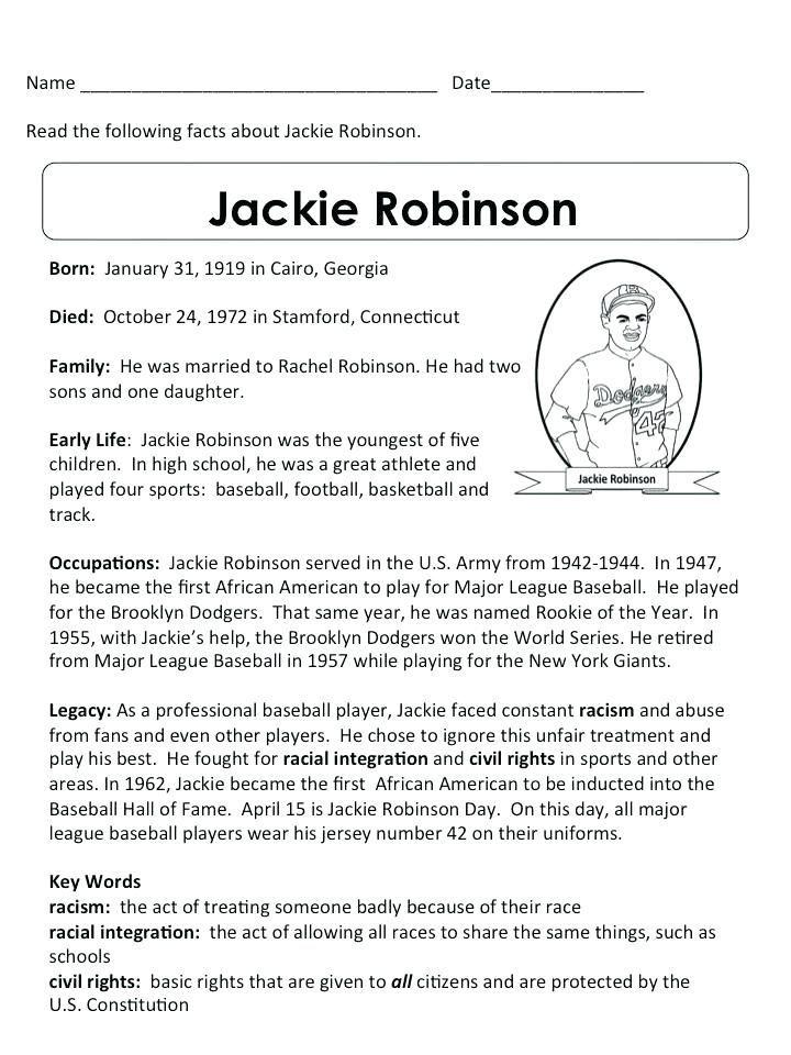 Jackie Robinson Worksheets 5th Grade Jackie Robinson, Jackie Robinson  Facts, Reading Comprehension Kindergarten