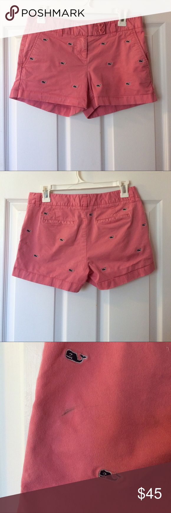 Whale embroidered shorts Vineyard Vines shorts // pink with navy embroidered whales // zip-up with a clasp and double button // small mark on back left side (pictured in 3rd picture) // size 2 // have been through washer and dryer // good condition // front pockets // half back pockets Vineyard Vines Shorts