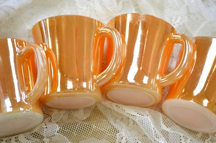 'Anchor Hocking - Fire King' Peach Lusterware - Set of 4 Coffee Mugs