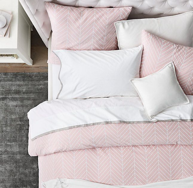Chevron Cotton-Linen & Edged Border Bedding Collection