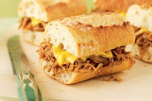 Pulled Chicken Sandwiches: These were amazing - I cooked in the crockpot for 6 hours and the chicken just fell off the bone.  I used small chicken thighs I had leftover in the freezer and just dumped bbq sauce on them!