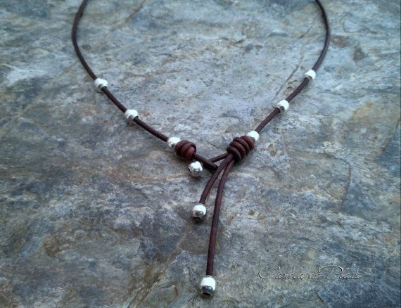 Leather and Silver Choker by CaneladePlata on Etsy