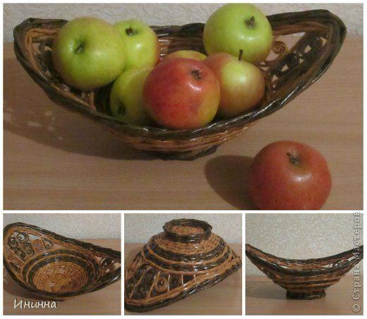 Поделка изделие Плетение Вазы для фруктов Бумага газетная фото 2