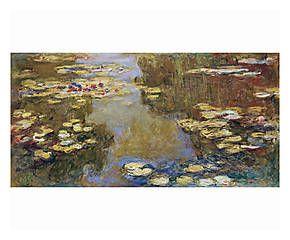 Stampa fine art su canvas con telaio in legno The Lily Pond - 70x35x4 cm