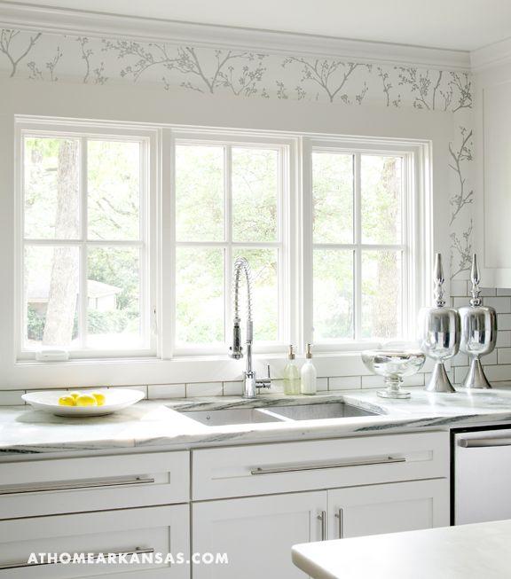 Kitchen Windows, Wallpaper Above Tile