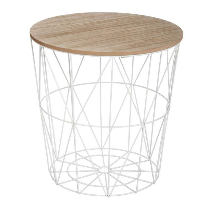 Table Basse Kumi Blanche Diametre 39 5cm X Hauteur 41cm Creer Une Ambiance Scandinave Dans Votre Salon Matieres M Table Cafe Table Basse Bout De Canape