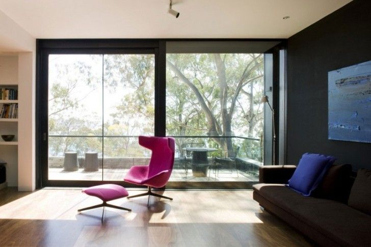 Architecture, The Magnificent Nuance Living Room Area Along With Long Couches Sofa Also Chic Nuance Purple Recliner Chair And Wide Big Windo...