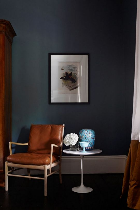 7 ways to decorate with dark colours: Make informed choices (as seen in The Avenue by Arent & Pyke)   Colours are affected by the amount of light they're exposed to, and as a general rule, they also tend to look darker on the wall. Before you commit, experiment with large swatches or test the paint in an inconspicuous place to get an idea of how the colour will look in its environment.